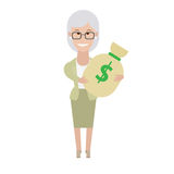 Older woman with a bag of money Royalty Free Stock Images