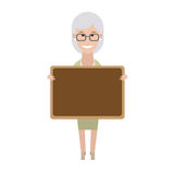 Older woman with board Royalty Free Stock Photos