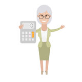 Older woman with a calculator Stock Image