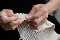 Older woman crocheting Royalty Free Stock Photo