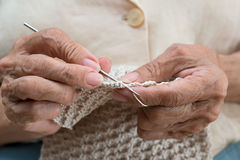 Older woman crocheting Stock Photography