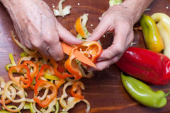 Older woman cutting pepper Stock Images