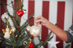 Older woman decorating a Christmas tree Royalty Free Stock Image