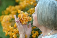 Older woman with flowers Stock Photos
