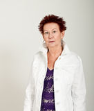 Older Woman Funky Hair White Jacket Half Stock Photos