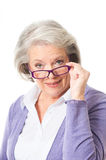 Older woman with glasses Royalty Free Stock Photos