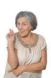 Older woman is happily Stock Image