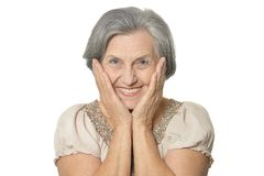 Older woman is happily Royalty Free Stock Image