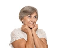 Older woman is happily Royalty Free Stock Images