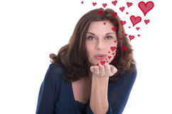 Older woman with a kissing mouth and red hearts. Valentines day or older woman in love Royalty Free Stock Photo
