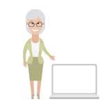 Older woman with laptop Stock Photo