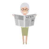 Older woman with newspaper Stock Images