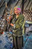 Older woman in nomad tent in Kyrgyzstan Stock Image