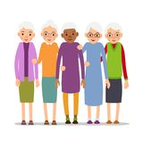 Older woman. Old woman character in various poses. Woman in a dr. Ess, blouse and skirt. Set cartoon illustration isolated on white background in flat style Royalty Free Stock Image