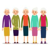 Older woman. Old woman character in various poses. Woman in a dr. Ess, blouse and skirt. Set cartoon illustration isolated on white background in flat style Stock Photos