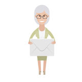 Older woman with the postal envelope Stock Image