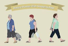 Older woman with shopping bags. Vector character of a people. Cartoon of woman doing shopping. Vector flat cartoon illustration Royalty Free Stock Images