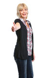 Older woman showing thumbs up gesture Stock Photography