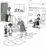 Older woman skips playing hopscotch with kids. Retired senior city woman playing hopscotch game, skipping on a street with kids. Laughing and having a happy time Stock Illustration