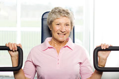 Older woman working out Stock Photo