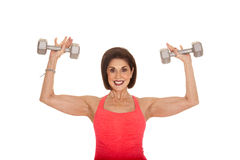 Older woman workout weights flex Stock Photo