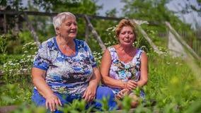 Older Women, female talking outdoors stock video