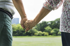 Olderly Couple Happiness Romantic Holding Hand Concept Stock Images