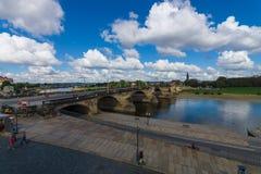 The oldest bridge over the Elbe - Augustus Bridge. Royalty Free Stock Photos