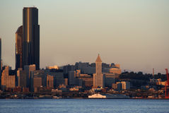 Oldest building in Seattle, Wshington. Seatte skyline highlighting SMITH TOWER -oldest building in Seattle and Columbia Tower - highest building in Seattle Stock Image
