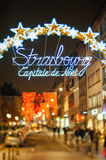 The oldest Christmas Market in Europe - Strasbourg, Alsace, Fran. Strasbourg capitale de noel neon sign. Strasbourg is considered the most picturesque experience royalty free stock photography
