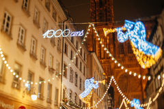 The oldest Christmas Market in Europe - Strasbourg, Alsace, Fran Royalty Free Stock Images