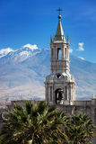Oldest church in background volcano Stock Images