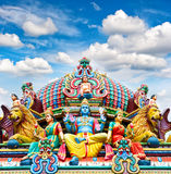 Oldest Hindu temple Sri Mariamman in Singapore over blue sky Stock Photos