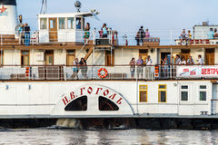 The oldest paddle steamer of Russia of N.V.Gogol on the river Northern Dvina. Stock Images