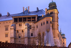 The oldest part of the Wawel Castle in Krakow. Wawel Castle in Krakow at night. Poland royalty free stock image
