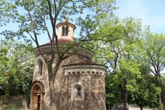Oldest Rotunda of St. Martin from 11th century, Vysehrad, Prague, Czech Republic royalty free stock images