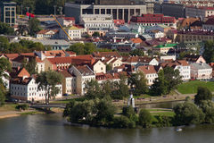 Aerial view of the Trinity Hill another name Trinity Suburb or Trojeckaje Pradmiescie. Is the oldest surviving district of Minsk, Belarus. The historic Stock Image