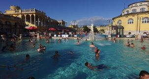 The oldest Szechenyi medicinal bath is the largest medicinal bath in Europe. stock footage