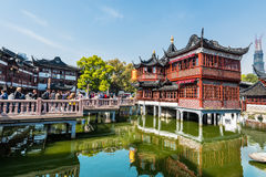 Oldest tea house of Fang Bang Zhong Lu old city shanghai china Royalty Free Stock Photos