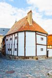 The oldest timber framing house in Germany. 14th century, Quedlinburg - Landmark stock photography