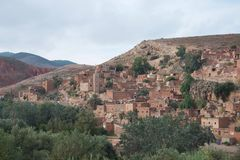 Ancient Berber village in Morocco`s Atlas Mountains stock images