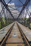 Oldest Truss railway bridge in perspective. A very smart lightweight lattice truss frame, in this long railway bridge. late 800`s Stock Photography