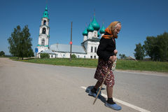 The oldest woman - a parishioner of the church after the service. Levashovo village, Yaroslavl Region, Russia - May 27, 2015: The oldest woman - a parishioner of stock image
