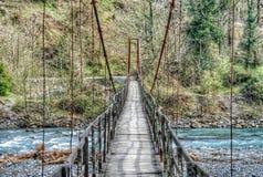 Oldest Wooden Bridge Over A Mountain River In Krasnodar Krai Stock Photography