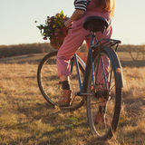Oldfashioned girl ready to ride Royalty Free Stock Photography