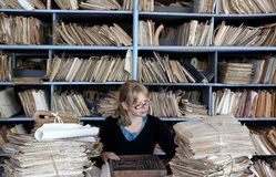 Oldfashioned office. Young woman working in an oldfashioned office Royalty Free Stock Photography