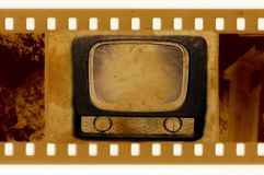 Oldies 35mm frame photo with vintage TV. Old 35mm frame photo with vintage TV Royalty Free Stock Image