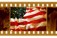 Oldies 35mm met oude USAflag Royalty-vrije Stock Foto