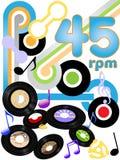 Oldies 45 expedientes de la música del rock-and-roll de la revolución por minuto Fotografía de archivo libre de regalías