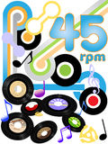 Oldies 45 RPM rock and roll music records Royalty Free Stock Photography